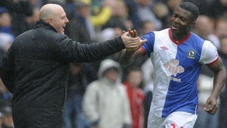 Yakubu (right) with Blackburn manager Steve Kean