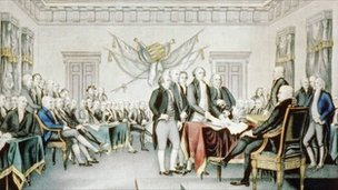Painting of the second continental congress