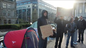 Protesters at Occupy Birmingham