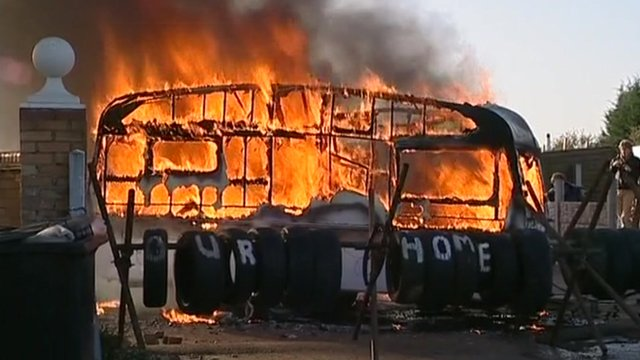 A burning caravan