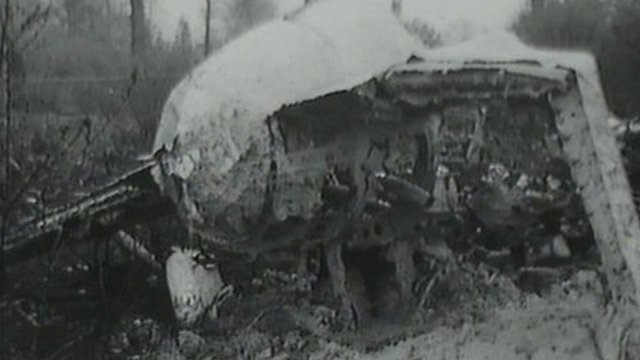 Wreckage of the Eagle Viking aircraft which crashed after take-off from Blackbushe airport near Yateley in Hampshire
