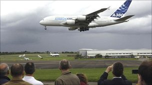Airbus A380 lands at Filton