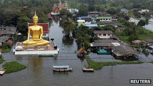 A boat sails past a flooded temple just outside Bangkok on 20 October 2011