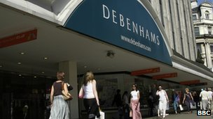 A Debenhams store on London's Oxford Street