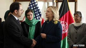 Hillary Clinton meets Salahuddin Rabbani at the US embassy in Kabul
