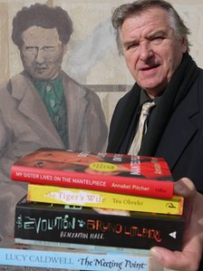 Peter Stead with this year's Dylan Thomas Prize shortlisted books