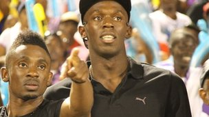 Usain Bolt at Champs 2011, the Jamaican schools sportsday