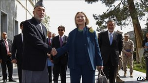 Hillary Clinton and President Karzai