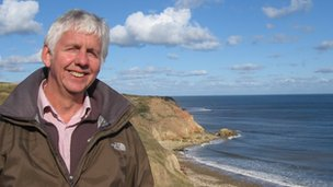 Niall Benson overlooking the beach at Easington Colliery