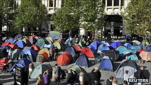 Demonstrators' camp outside St Paul's Cathedral in London