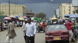 A street scene in Eastleigh, Nairobi