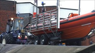 Redcar lifeboat in its launching carriage
