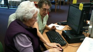 Jean Holliday (L) and Sue Phipps at their local library
