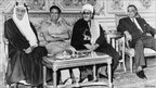 From left, King Faisal of Saudi Arabia, Libyan leader Muammar Gaddafi, Yemeni President Abdul Rahman Iryani of the Yemen Arab Republic and President Gamal Abdel Nasser of Egypt, pictured in Cairo, September 1970