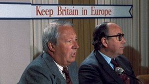 Edward Heath and Roy Jenkins campaigning for a yes vote in the 1975 EU referendum