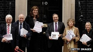 Politicians hand in a petition calling for a referendum on the UK's membership of the EU