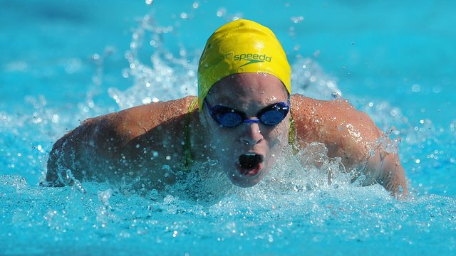 Emily Seebohm competes at the Commonwealth Games, Delhi
