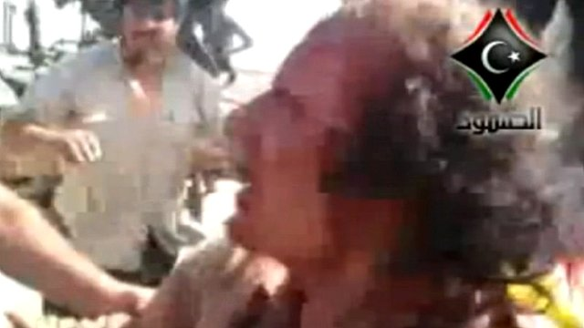 Amateur video of Col Gaddafi shortly before he was killed