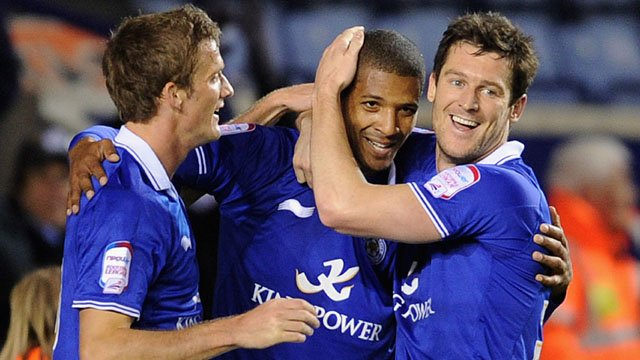 Jermaine Beckford celebrates after his first Leicester goal
