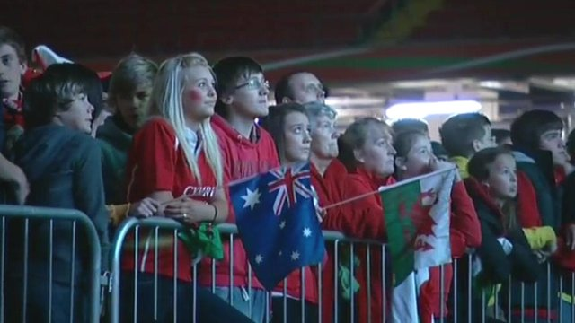 Fans watch the game at the Millennium Stadium