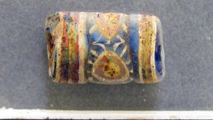 1 cm long glass bead found in Hungate, York. Picture: York Archaeological Trust