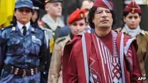Colonel Gaddafi with his body guards