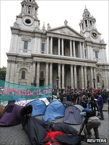 The protest camp outside St Paul&#039;s Cathedral in central London