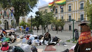 Indigenous protesters camp out in front of the presidential palace in La Paz