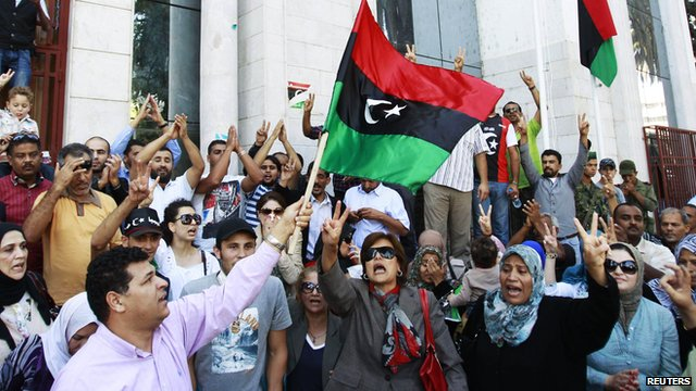 Libyan people celebrating