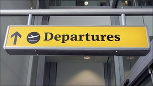 Aircraft departures sign