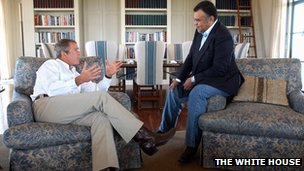 US President George W. Bush (L) meeting with Saudi Arabian Ambassador to the US Prince Bandar bin Sultan