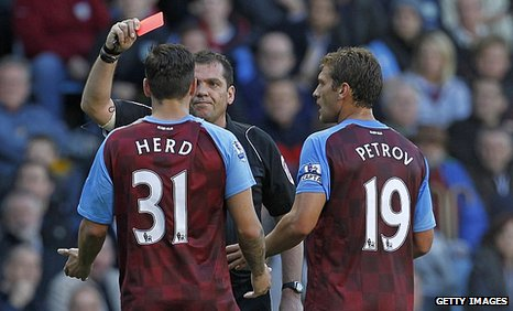 Chris Herd is sent off