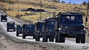 Turkish army convoy on a road in the province of Sirnak, near the Turkish-Iraqi border 