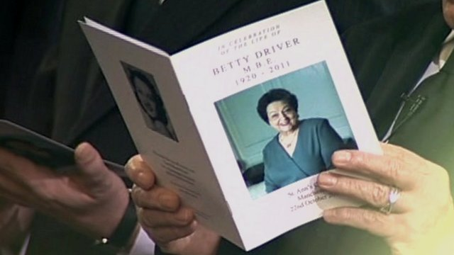 Order of service for Betty Driver's funeral