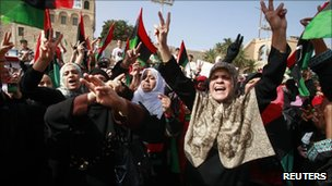 Women celebrate the Muammar Gaddafi's death in Tripoli, 21 October 2011