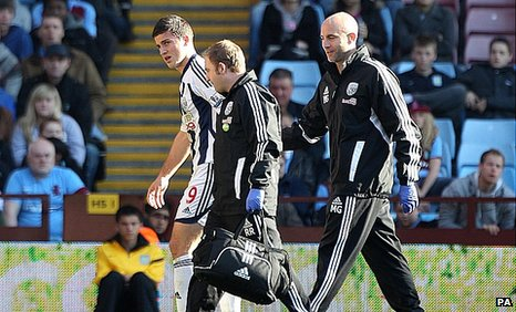 Shane Long hobbles off at Villa Park