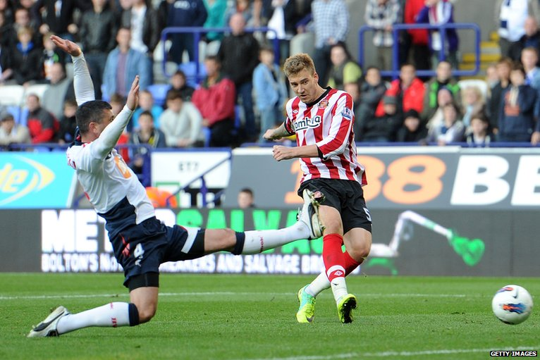 Nicklas Bendtner (right) scores for Sunderland
