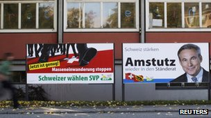 Two SVP campaign posters, Burgdorf, 21 October, 2011