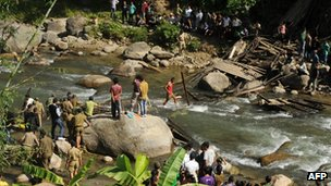 Scene of the bridge collapse in Bijonbari, Darjeeling, West Bengal, on 23 October 2011