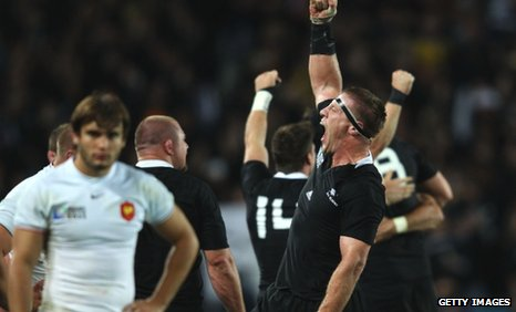 NZ lock Brad Thorn celebrates victory
