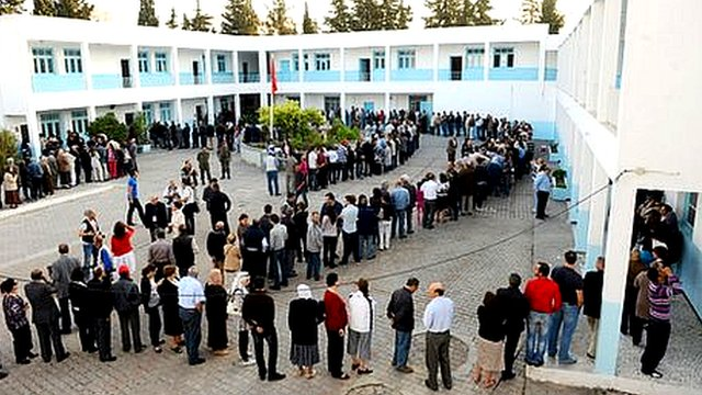 Voters queuing in Tunis