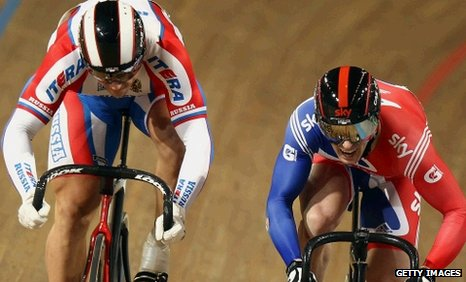 Russia's Denis Dmitriev races Britain's Jason Kenny for the men's sprint European bronze medal
