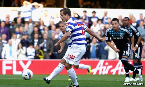 Heidar Helguson opens the scoring for QPR against Chelsea