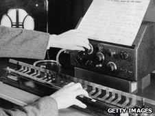 The trautonium, an electronic keyboard instrument, circa 1930.