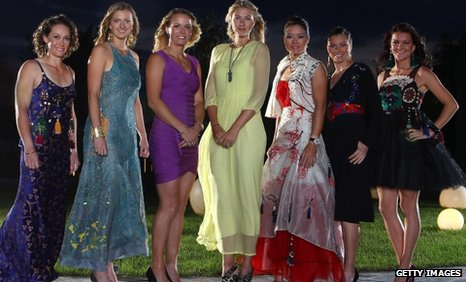 Samantha Stosur of Australia, Petra Kvitova of Czech Republic, Caroline Wozniacki of Denmark, Maria Sharapova of Russia, Li Na of China, Vera Zvonareva of Russia and Agnieszka Radwanska of Poland