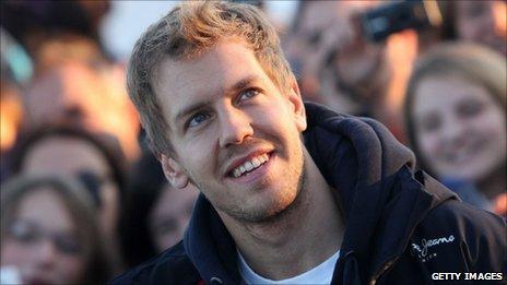 Red Bull's double world champion Sebastian Vettel meets his fans in Heppenheim