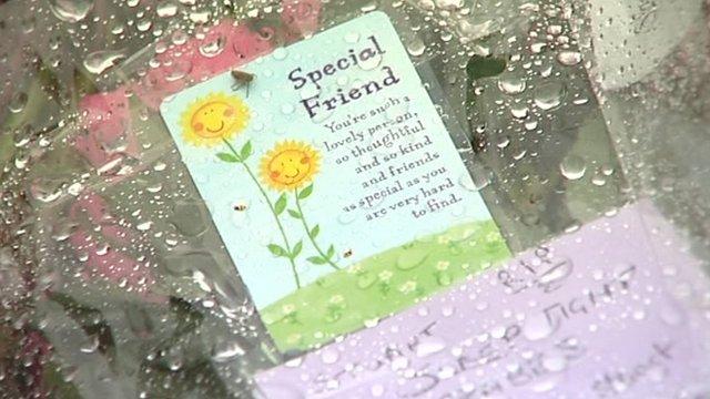Flowers left for Stuart Walker