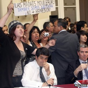 Protesters interrupted a Senate committee hearing on 20 October