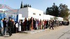 Queue at polling station in Tunis  (23 Oct 2011)