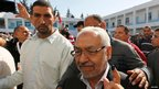 Tunisian Islamist leader Rachid Ghannouchi after voting (23 Oct 2011)